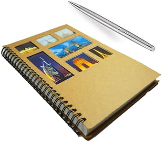 Bluto Travel Diary A5 120 Pages with Luxury Stainless Steel Pen