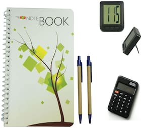 Bluto White Notebook With 2 pen & Table Watch;Calculator Combo