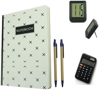 Bluto White Diary With 2 pen & Table Watch;Calculator Combo