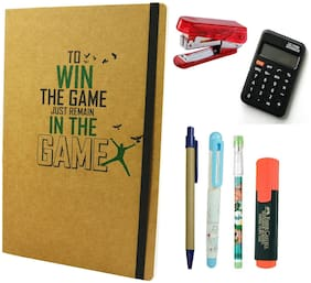 Bluto Win The Game Diary With Pen;Pencil;Fountain Pen;Highlighter;Calculator Free Stapler Combo