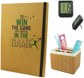 Bluto Win The Game Diary With Pen/ Pencil Stand & Table Watch