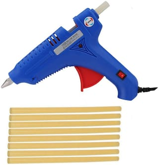 BOND BLUE 100W 100 WATT LEAK PROOF PROFESSIONAL HOT MELT GLUE GUN (ON OFF  SWITCH AND INDICATOR) WITH 8 YELLOW GLUE STICKS