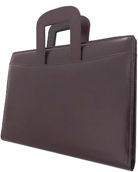 Brown Leather File Folder with Adjustable Handle