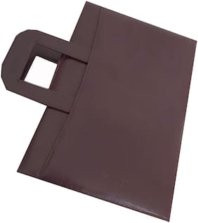 Brown Leather File Folder with Adjustable Handle (Pack of 2)