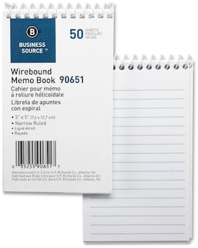 "Business Source Wirebound Memo Book End Opening Wire 3""x5"" 50Shts White 90651"