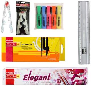 CAMLIN ELEGANT DARK PENCILS+SCHOLAR GEOMETRY BOX+SUPREME FOLDABLE SCALE 30 CM+HIGHLIGHTORS+EXAM SCALE 15 CM