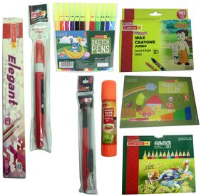CAMLIN ELEGANT PENCILS +JUMBO WAX CRAYONS (12 SHADES)+MODELING CLAY (6 SHADES)+COLOUR PENCILS(12 SHADES)+SKATCH PEN (12 SHADES)+EXAM 2 MM PENCIL 2 MM WITH LEADBOX +COVER IT CORRECTION PEN +GLUE STICK