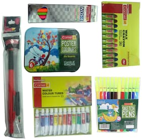 CAMLIN NOVA GLOWING TRIANGULAR PENCIL+SCALE 15 CM+WATER COLOUR TUBES+SKETCH PENS (12 SHADES)+WAX CRAYONS (24 SHADES)+POSTER COLOURS (6 SHADES) +2 MM EXAM PEN PENCIL+LEAD BOX