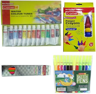 CAMLIN WATER COLOUR TUBES (12 SHADES)+FINGER CRAYONS (10 SHADES)+NOVA GLOWING TRIANGULAR PENCILS WITH SCALE 15 CM+SKETCH PEN (12 SHADES)