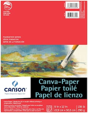 Canson Paper Canvas Pad, 9 x 12 in, White, 10 Sheets/Pad