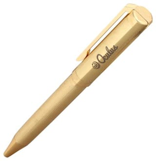 Carving-0111 Gold Plated Metallic Ball Pen. Fitted with Germany Made Components and presented in Gift Box.