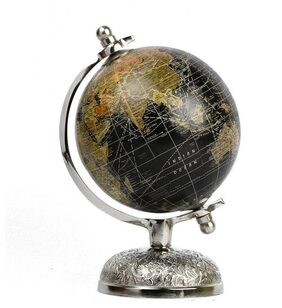Casa Decor Victorian Elegant And Stunning World Globe with Silver Features Detailed Metal Stand Unique Table Decor