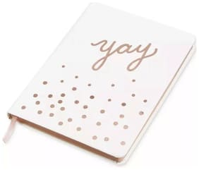 """Celebrate Shop 6"""" x 8"""" """"Yay"""" Personal Journal Note Book Girls White Rose Gold."""