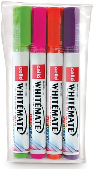 Cello Whitemate Vivid Whiteboard Marker - Pack of 4 (Multicolor)