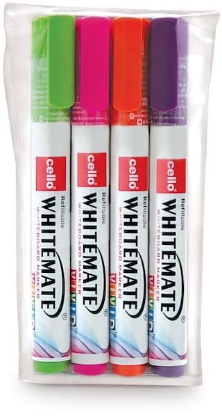 Cello Whitemate Vivid Whiteboard Marker - Pack of 4 (Multicolor)
