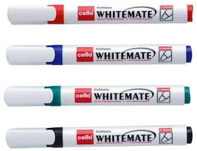Cello Whitemate Pen - Pack of 4 (Assorted)