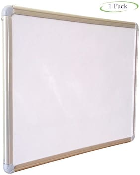 Chalk and White Board Non-Magnetic Lightweight Aluminium Frame - 1 x 1.5 Feet (Double Sided Pack of 1)