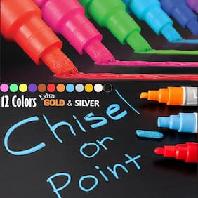 Chalk Markers for Chalkboard- Erasable Dustless Water-Based Non-Toxic Liquid Wet