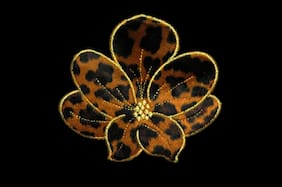 Cheetah Leopard Print Furry Flower Iron On Patch Animal Fur Pattern by piece