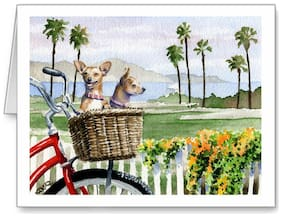 CHIHUAHUA BEACH BICYCLE  DOG GREETING NOTE PARTY INVITE THANK YOU BIRTHDAY CARDS