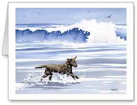 CHOCOLATE LAB BEACH DOG GREETING NOTE PARTY INVITATION THANK YOU BIRTHDAY CARDS