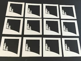 Christmas Die Cuts * Sloping Hillside Winter Scene * 12 Pieces * White Cardstock