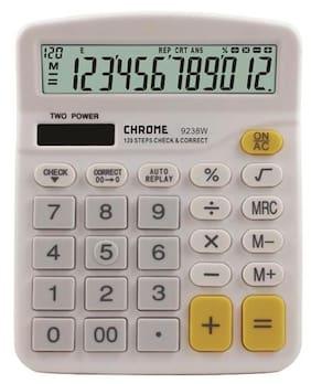 Chrome 9238W - Check & Correct Basic Calculator White (12 Digit)