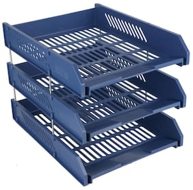 Chrome 9636- 3 Tier Plastic Document Tray (Blue)