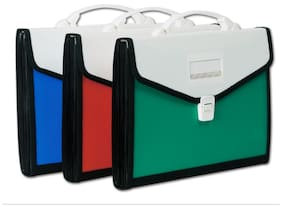 Chrome Plastic FC/Expanding File  Blue, Red, Green (Pack Of 3)