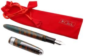 Click Falcon Ebonite Fountain Pen Fine Nib Vintage Look Chrome Trims Brown & Green