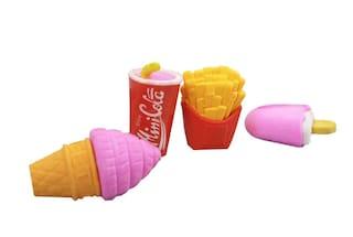 Coi 3D Burger;Cola;Donut Shaped Erasers Set Of Four For Kids
