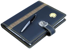 Coi All In One Black Elegant Faux Leather Diary 2017 With Lock ,Calculator , Clock And Pen