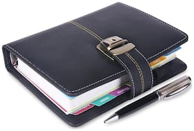 COI Black Faux Leather Designer Organizer 2019 / Diary Planner With Antique Show Lock With Pen.