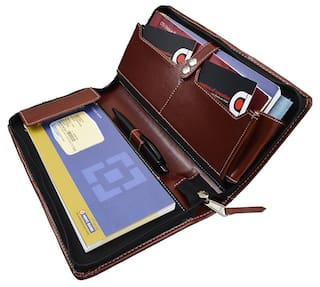 COI Brown expendable leatherite cheque book holder/document holder