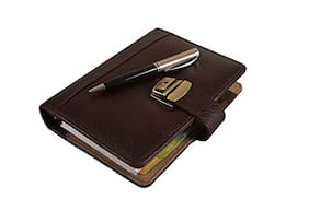 Coi Brown Faux Leather A5 Business Organiser / Planner With Lock And Pen