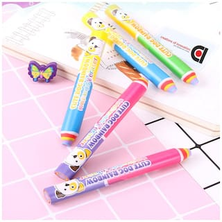 COI Cute Stylish Long Stick Pen Pencil Shaped Dust free Erasers for Kids (Set of 2pc)