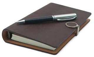 Coi Ethinic Brown Business Pocket Undated Planner / Diary With Pen
