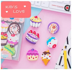 COI Latest Cute 6pc Box Cake and Ice Cream shape erasers for Kid s Students Children