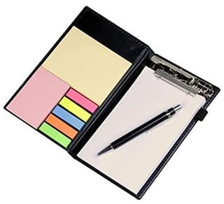 Coi Memo Neon Coral Note Pad/Memo Note Book With Sticky Notes & Clip Holder In Diary Style