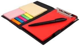 COI Neon Crimson Red Memo Note Pad Organiser/Memo Notebook Holder With Tear Off Sheets With Pen.