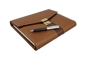 Coi Unique Brown Folder Diary 2017 With Lock And Pen