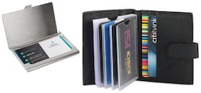 Combo Leather Card Holder & Steel Card Holder