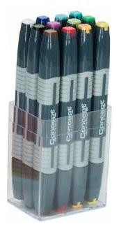 Concept Dual Tip Art Markers Set Professional Chisel//Fine Tip Permanent Ink