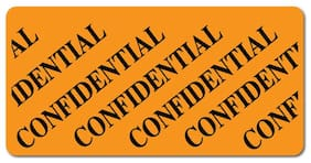 Confidential, 2 x 1 Orange Fluorescent, Roll of 100 Stickers