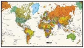 Contemporary World Map - VINYL Print (48W x 27.42H) [Wall Chart] - 2017 Edition