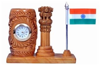 Craft Trade Pen Holder with analog watch and National flag