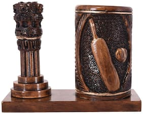 Craft Trade Wooden Brown Color Ashok Stambh with Pen stand (14 X 6 X 11)