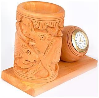 Craft Trade Wooden Shikar Penstand with Analog Clock