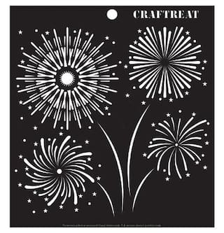 CrafTreat Fire Works Stencil 6X6