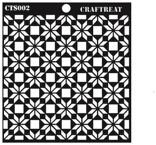 "CrafTreat Flower Tile Stencil  6""X6"""